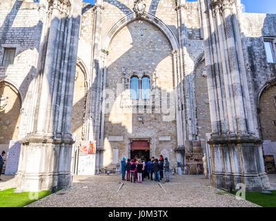 LISBON, PORTUGAL - JANUARY 19, 2017: Convent of Our Lady of Mount Carmel (Portuguese: Convento da Ordem do Carmo) - Stock Photo