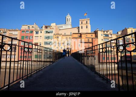 Gomez Bridge or Pont de la Princesa in Girona Old Town, Catalonia, Spain, historic houses along Onyar River - Stock Photo