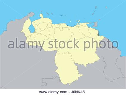 High detailed vector map of Venezuela. File easy to edit and apply. Elements of this image furnished by NASA - Stock Photo