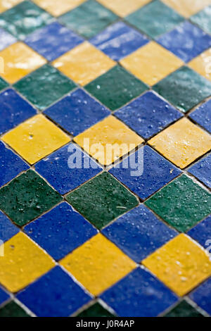 Blue green yellow mosaic tiles - Stock Photo