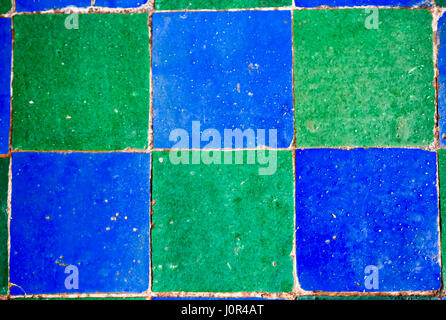 Blue green mosaic tiles - Stock Photo