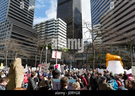 Seattle, Washington, USA. 15th April, 2017. Hundreds of protestors attended Tax March Seattle, a rally and sister - Stock Photo