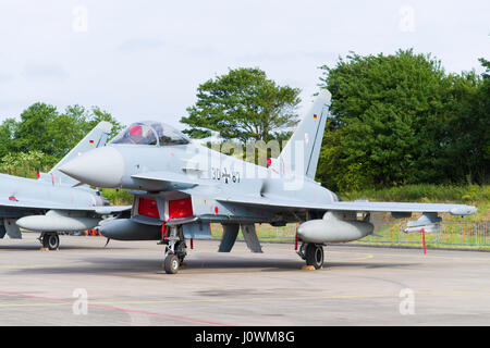 LEEUWARDEN, NETHERLANDS - APRIL 10, 2016: German Air Force EF2000 Eurofighter from JaboG 31 'Boelcke' during the - Stock Photo
