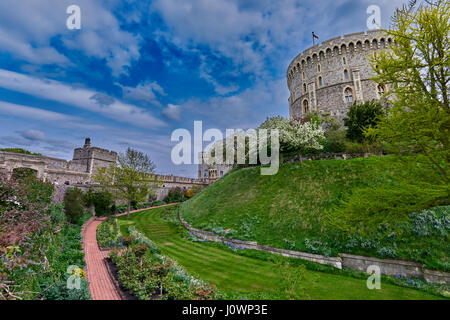 Windsor Castle is a royal residence at Windsor in the English county of Berkshire - Stock Photo