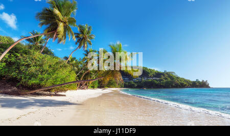 Paradise beach on Seychelles, Anse Takamaka, Mahe island. - Stock Photo