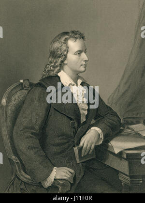 Friedrich von Schiller, German Poet, Portrait, Engraving from an Original Portrait by Melcher of Berlin - Stock Photo