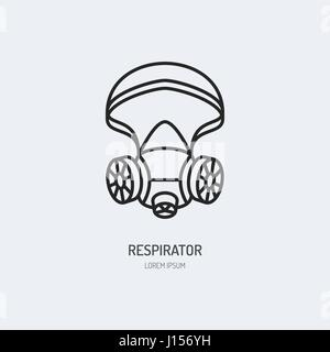 Gas mask, respirator flat line icon. Vector logo for personal protective equipment store. Health protection thin - Stock Photo