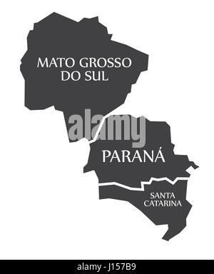 Mato Grosso do sul - Parana - Santa Catarina Map Brazil illustration - Stock Photo