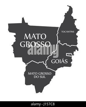 Mato Grosso - Tocantins - Distrito Federal - Goias - Mato Grosso Do Sul Map Brazil illustration - Stock Photo
