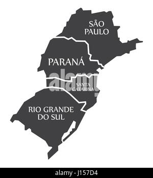 Sao Paulo - Parana - Santa Catarina - Rio Grande do sul Map Brazil illustration - Stock Photo