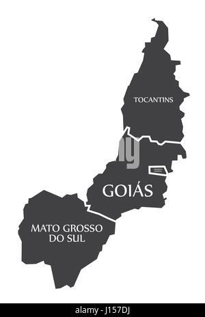 Tocantins - Distrito Federal - Goias - Mato Grosso do sul Map Brazil illustration - Stock Photo