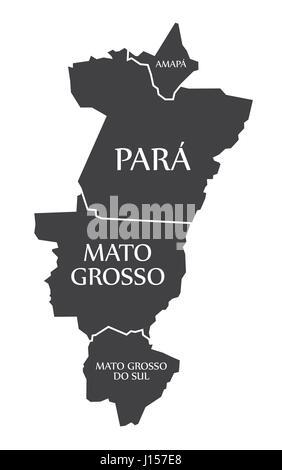Amapa - Para - Mato Grosso - Mato Grosso Do Sul Map Brazil illustration - Stock Photo