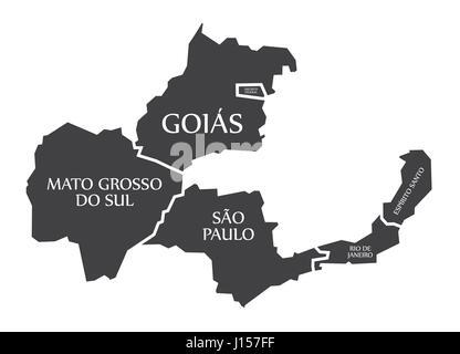 Mato Grosso do sul - Goias - Distrito Federal - Sao Paulo - Rio de Janeiro - Espirito Santo Map Brazil illustration - Stock Photo