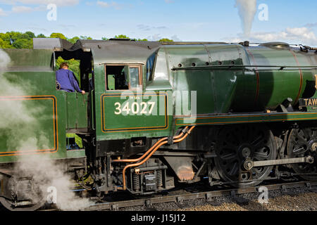 SR West Country Class 4-6-2 Pacific 'Taw Valley' steam locomotive (No. 34027, built 1939), on the Severn Valley - Stock Photo