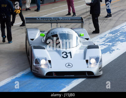 View of  a Sauber Mercedes C11 once driven by Mauro Baldi and  Michael Schumacher. In the International Pits at - Stock Photo