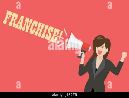 Business woman holding a megaphone with word franchise. Vector Illustration - Stock Photo