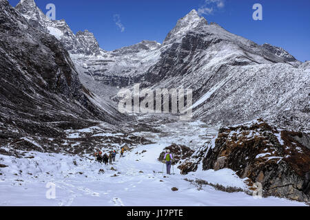 From a hike in the Everest region from lukla to Gokyo, Gokyo Ri and Mt Everest Base camp - Stock Photo