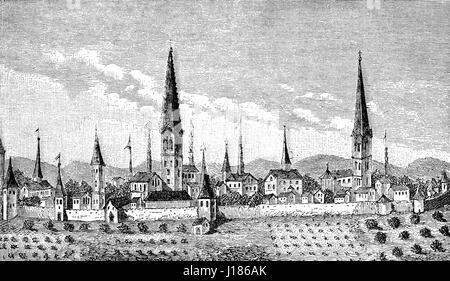 Cityscape of Dortmund, North Rhine-Westphalia, Germany, 16th century - Stock Photo