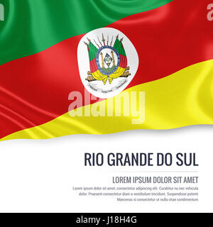 Flag of Brazilian state Rio Grande do Sul waving on an isolated white background. State name and the text area for - Stock Photo