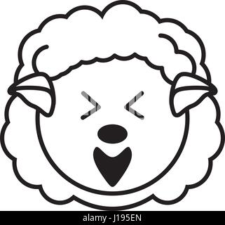 outline sheep head animal - Stock Photo