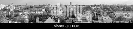 Black and white panoramic view of Szczecin (Stettin) city, Niebuszewo district,  Poland. - Stock Photo