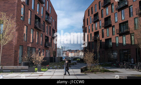 Krøyers Plads by COBE Architects and vilhelm lauritzen architects, a new waterfront mixed-use development in Christianshavn, - Stock Photo
