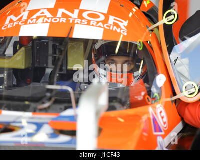 Simon Trummer  sat in  CEFC Manor TRS Racing's LMP 2 car  in the garage during qualifying for the Silverstone 6 - Stock Photo