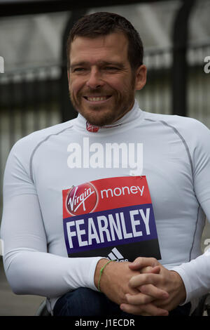 London,UK,21st April 2017,Elite wheelchair athlete Kurt Fearnley attends a photocall by Tower Bridge in London ahead - Stock Photo