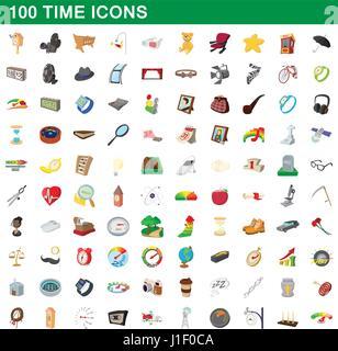 100 time icons set, cartoon style - Stock Photo