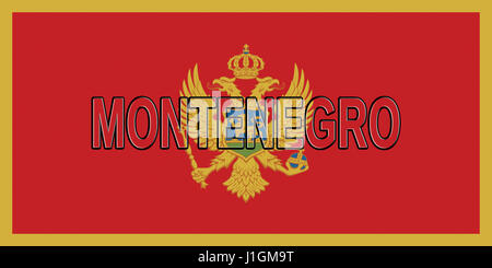 Illustration of the national flag of Montenegro with the country written on the flag - Stock Photo