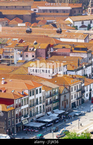 Porto Portugal Gaia, view of the port wine lodges sited along the waterfront of the Douro river in the Gaia district - Stock Photo