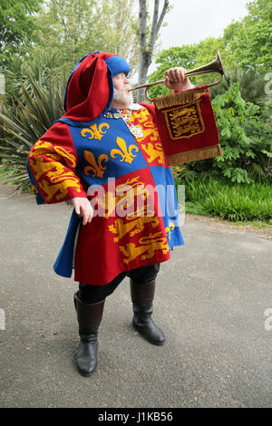 London UK 22 April 2017 Vauxhall Pleasure Gardens staged Town Crier Alan Myatt who holds the Guiness Book of Records - Stock Photo