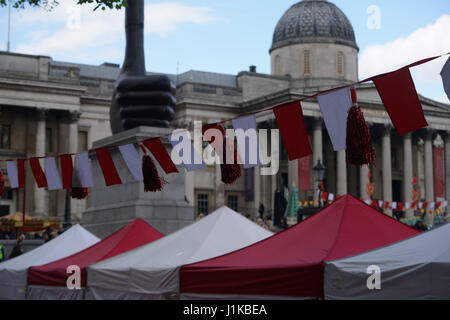 London, UK. 22 April, 2017. Thousands attended the Feast of St George celebrations in Trafalgar Square, London, - Stock Photo