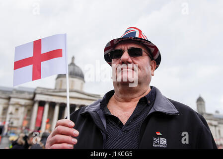 London, UK.  22 April 2017.  People gather in Trafalgar Square to celebrate the Feast of St. George, hosted by Sadiq - Stock Photo