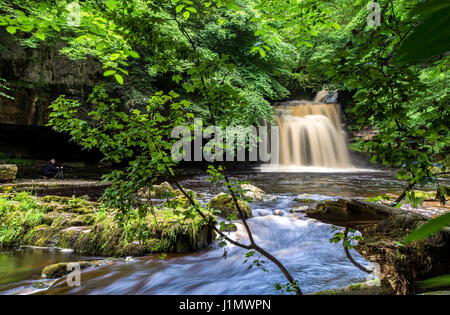 West Burton Waterfall, Wensleydale, Yorkshire Dales, England - Stock Photo
