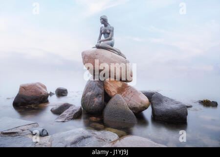 The Little Mermaid, Copenhagen, Scandinavia, Denmark - Stock Photo