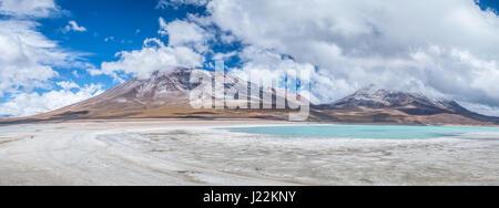 Panoramic view of Laguna Verde (Green Lagoon) and Licancabur Volcano in Bolivean altiplano - Potosi Department, - Stock Photo
