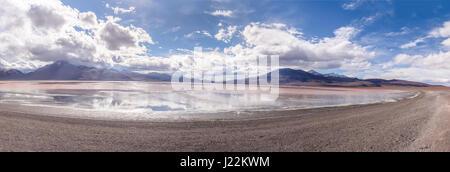 Panoramic view of Laguna Colorada (Red Lagoon) in Bolivean altiplano - Potosi Department, Bolivia - Stock Photo