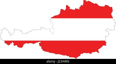 High resolution Austria map with country flag. Flag of the Austria overlaid on detailed outline map isolated on - Stock Photo