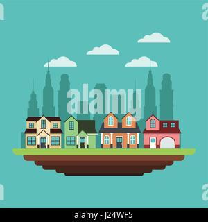 neighborhood houses private urban style design - Stock Photo