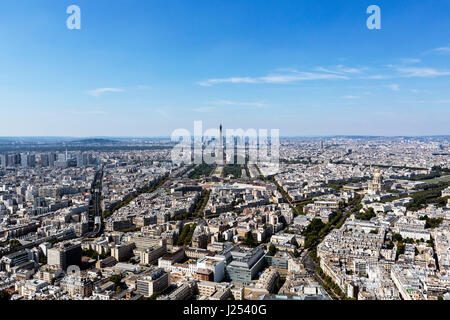 View over Paris, looking towards the Eiffel Tower and La Defense, from the observation deck at the top of the Tour - Stock Photo