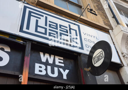 The signage of Flashback Records on Record Store Day 2017. (Shoreditch, London, UK. 22 April 2017. Credit: Robert - Stock Photo