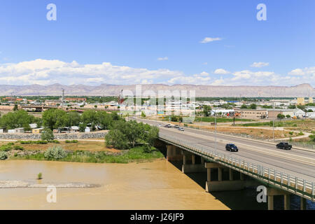 Grand Junction, USA - May 28, 2016: Highway bridge over the confluence of the Gunnison River and Colorado River - Stock Photo