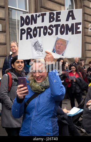 Participants in the March for Science Rally held in Edinburgh on the 22nd April, 2017 as part of the global protest - Stock Photo