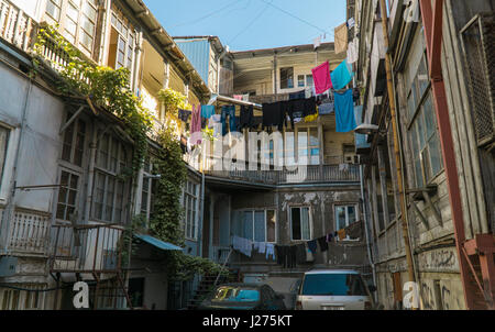 TBILISI, GEORGIA-SEP 25, 2016: Typical courtyard in the heart of the old town. - Stock Photo