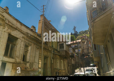 TBILISI, GEORGIA-SEP 25, 2016: Street with shabby houses in the old city centre. - Stock Photo
