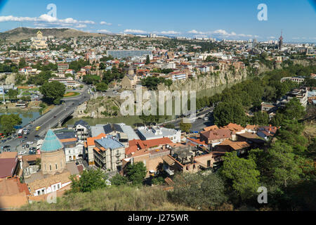 Tbilisi city center aerial view from Narikala Fortress, Georgia - Stock Photo