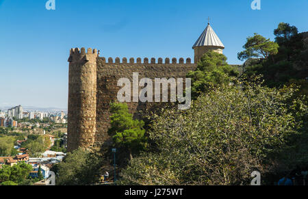 Fragment of walls of the Narikala fortress in Tbilisi, Georgia - Stock Photo