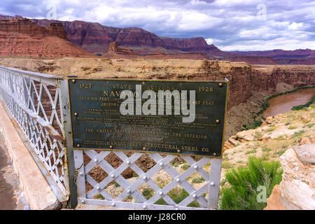Navajo Bridge crossing Marble Canyon in Arizona - Stock Photo