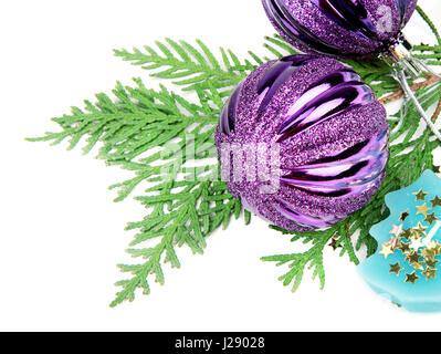 Christmas decorations isolated on white background - Stock Photo